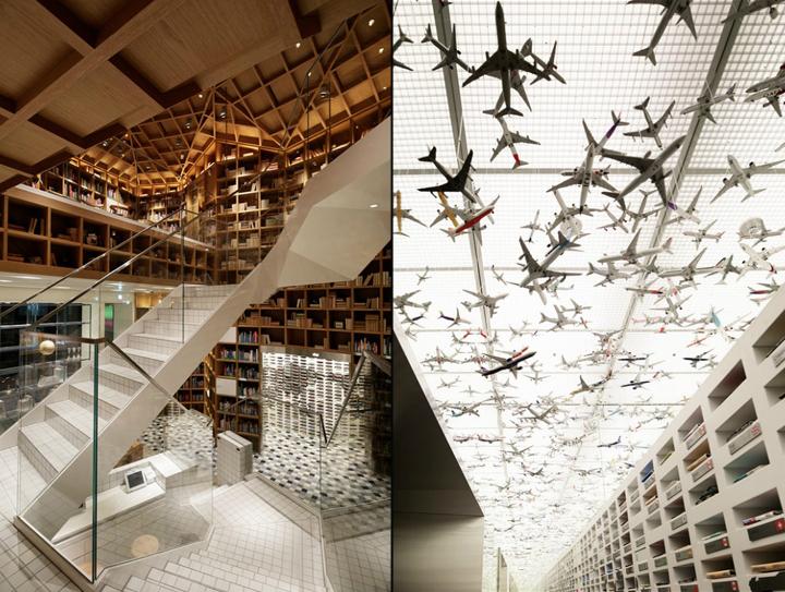 Дизайн потолка библиотеки HYUNDAI в Южной Корее