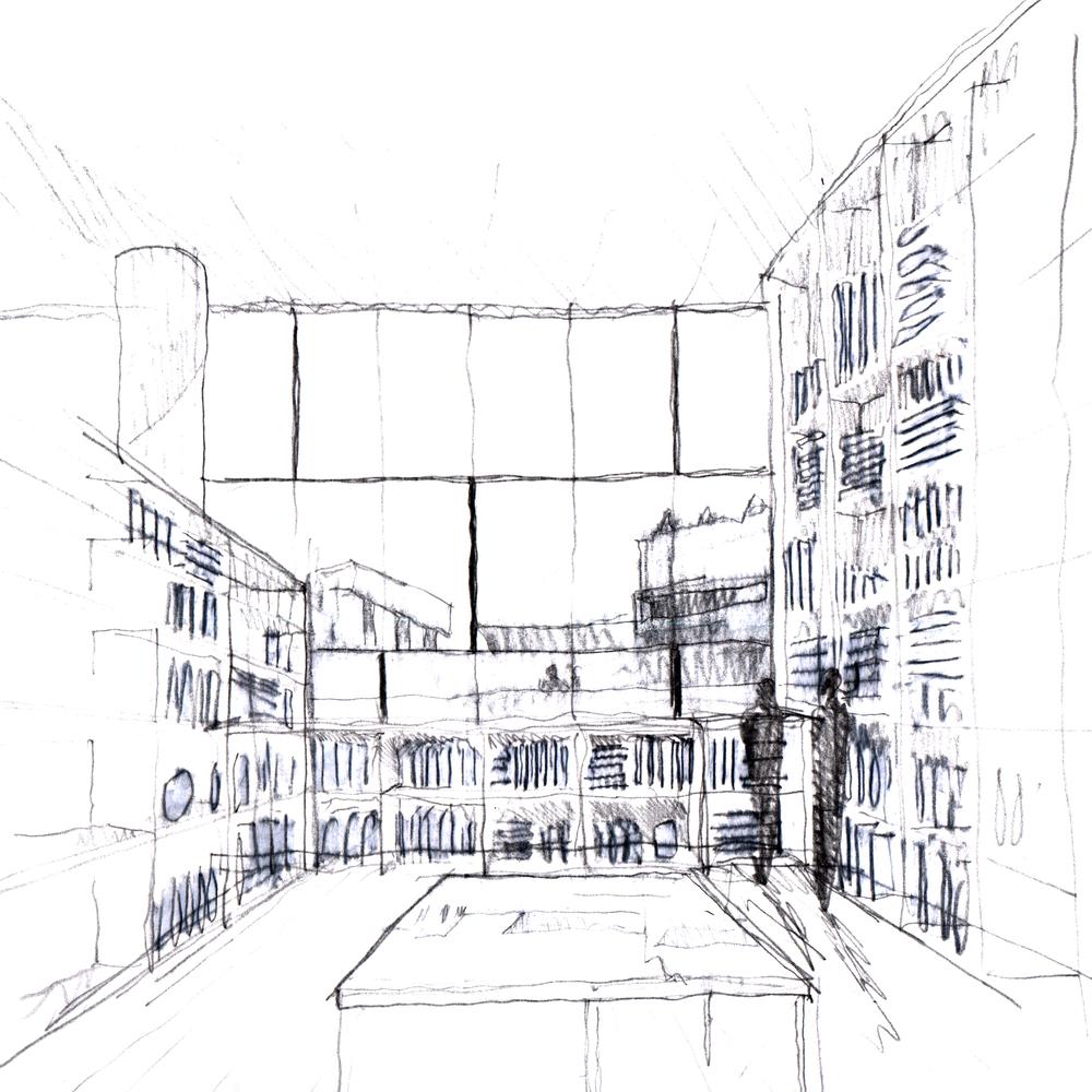 Скетч идеи интерьера архивного помещения от Jonathan Tuckey фото 11