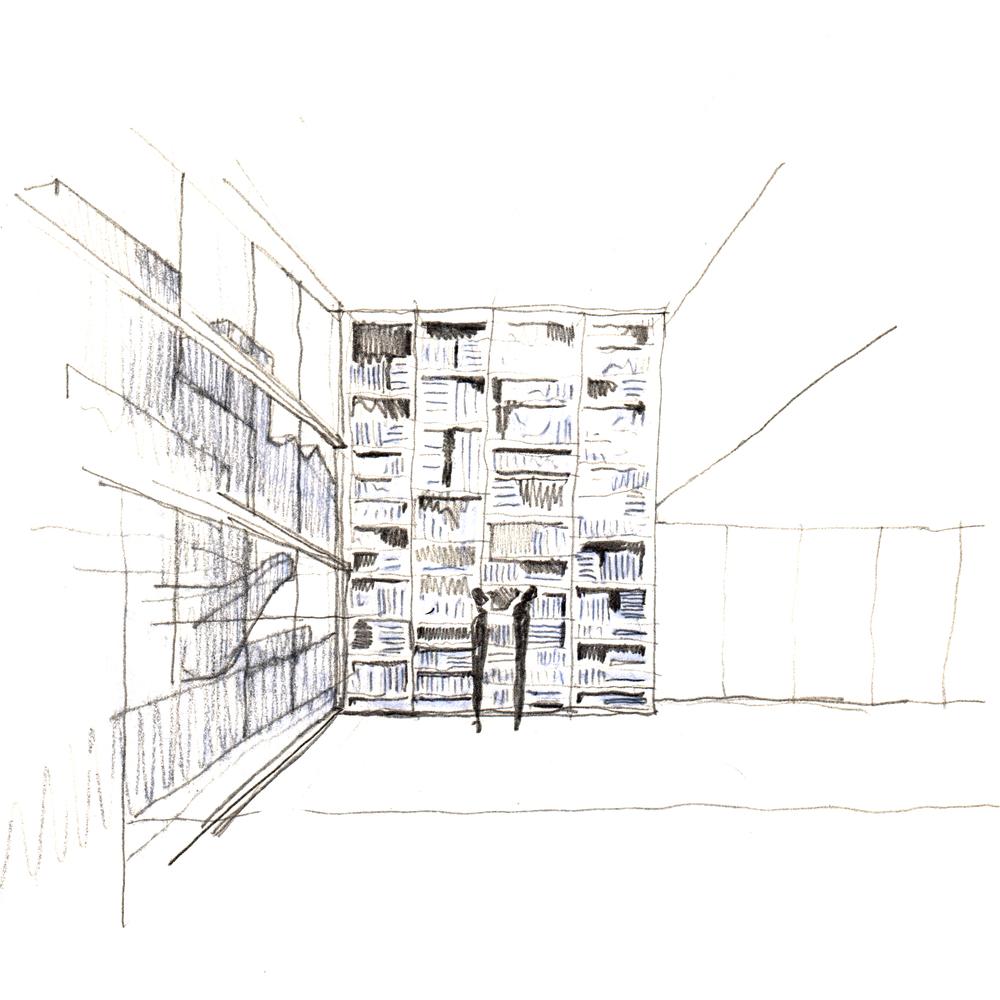 Скетч идеи интерьера архивного помещения от Jonathan Tuckey фото 7