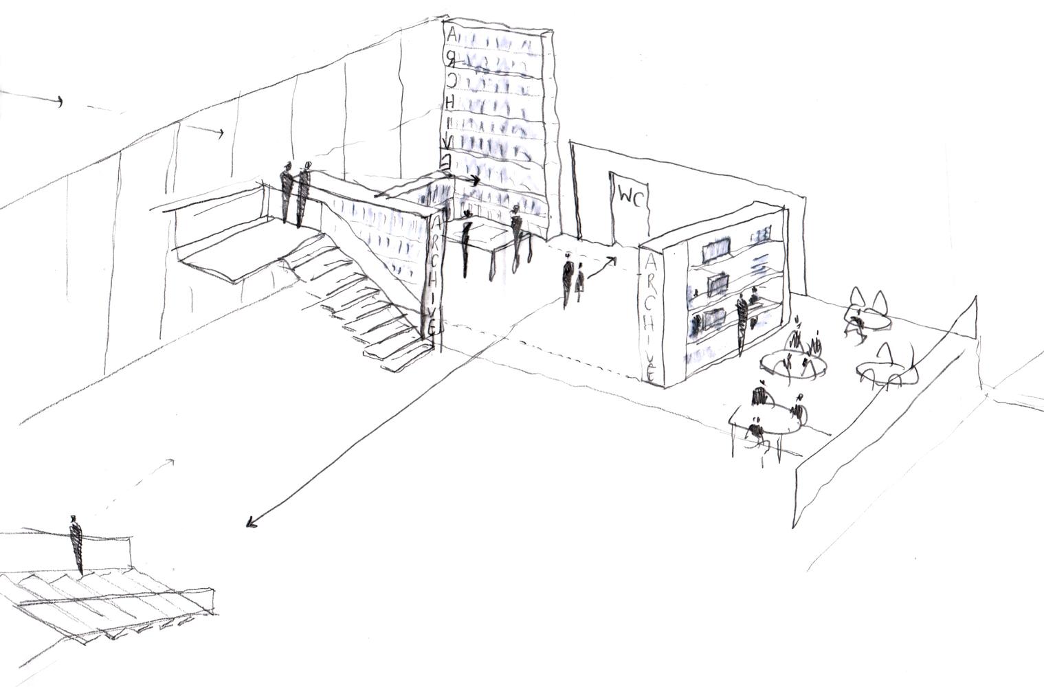 Скетч идеи интерьера архивного помещения от Jonathan Tuckey фото 9