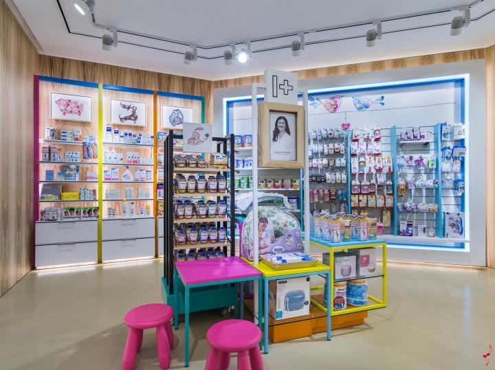 Интерьер аптеки: центральный стеллаж