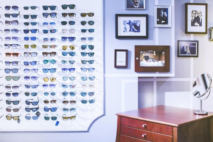 Интерьер магазина оптики: фото над комодом