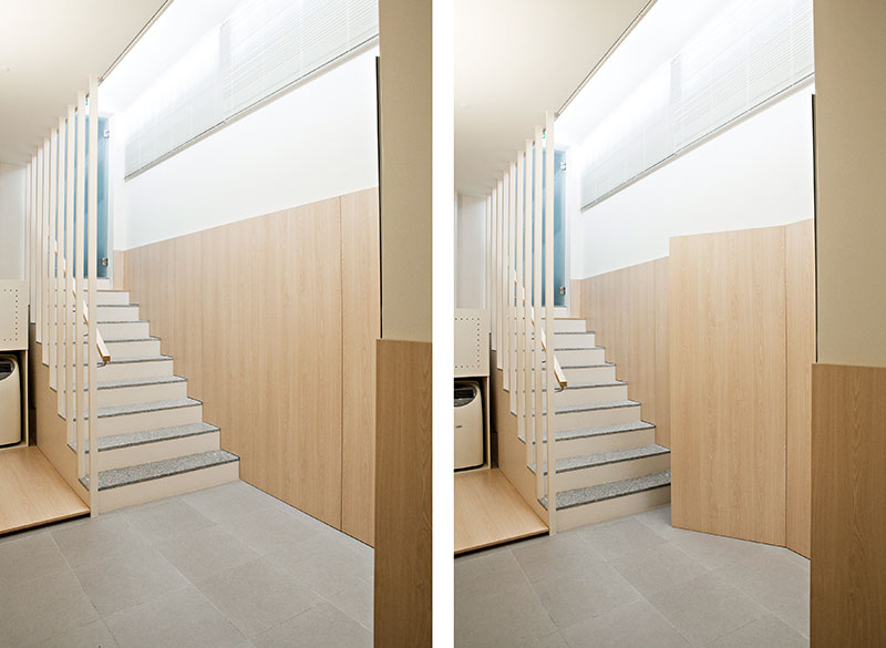 Интерьер маленького салона красоты: лестничная площадка
