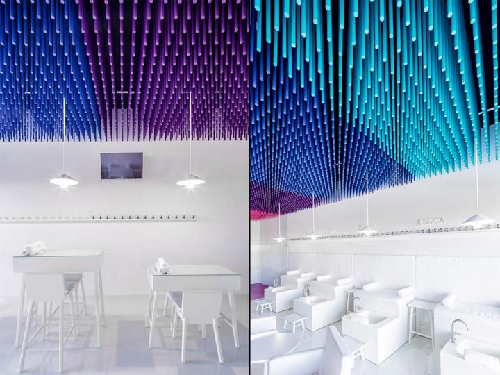Белая мебель в интерьере маникюрного салона