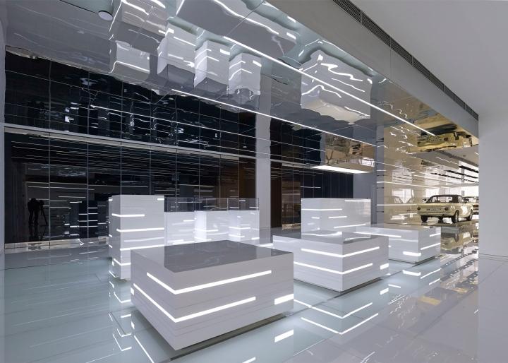 Интерьер музея BMW: разноуровневый потолок