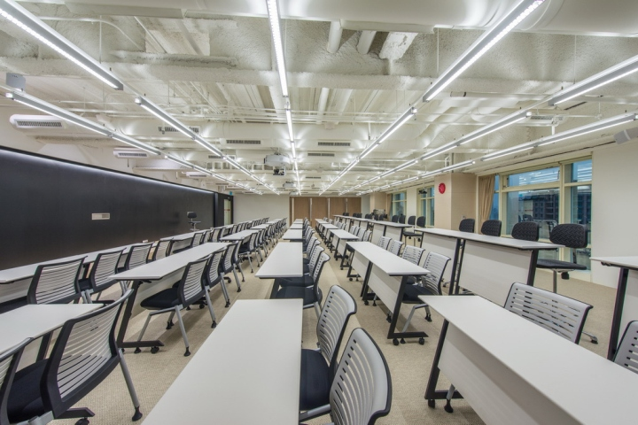 Интерьер небольшого офиса: параллельная динамика потолка и рядов мебели