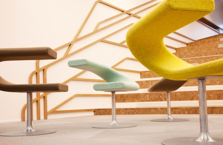 Дизайнерские стулья в интерьере офиса банка