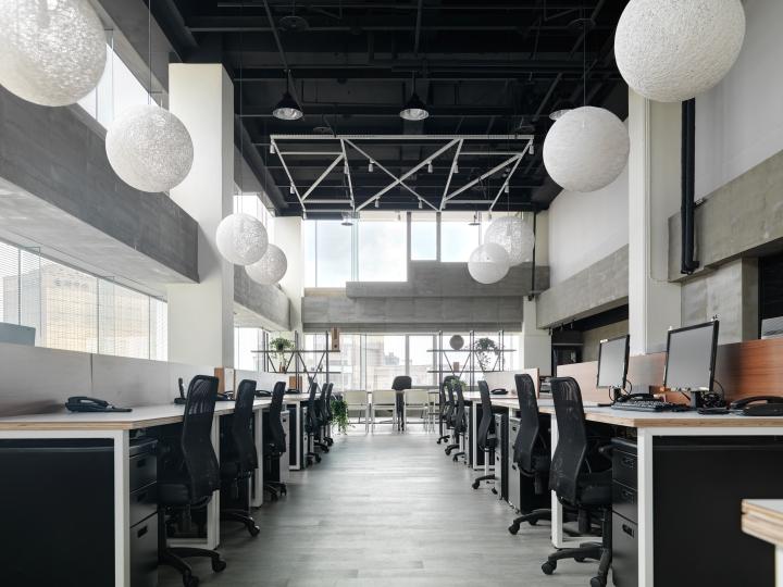 Интерьер офиса в стиле минимализм компании Citiesocial - подвесные светильники как дополнительное освещение