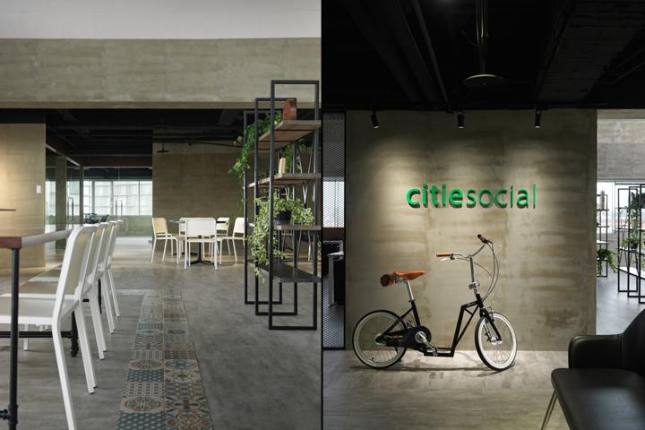 Интерьер офиса в стиле минимализм компании Citiesocial - зонирование офиса
