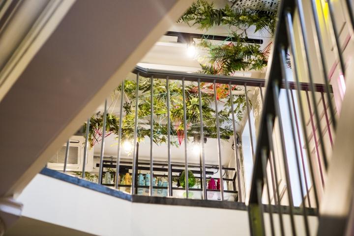 Множество живых растений в интерьере парикмахерской