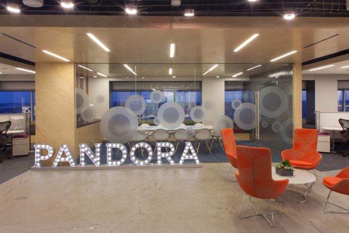 Новый интерьер помещений офиса компании Pandora Media в США