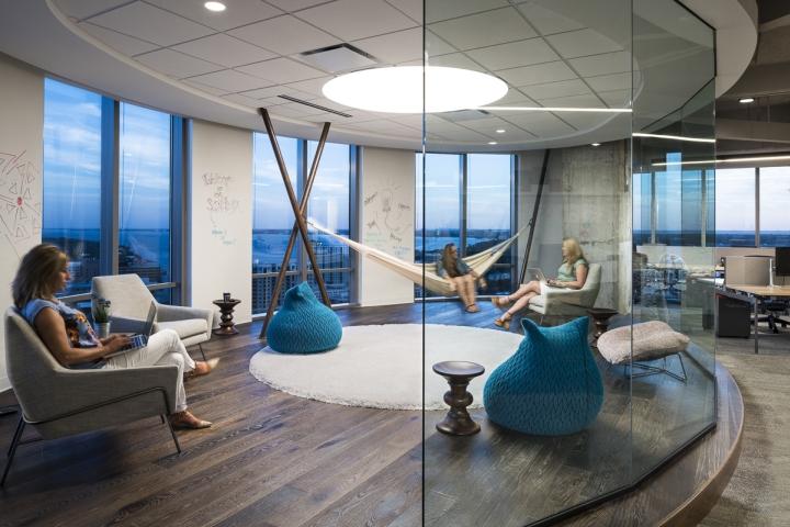 Зона для отдыха в интерьере рабочего офиса