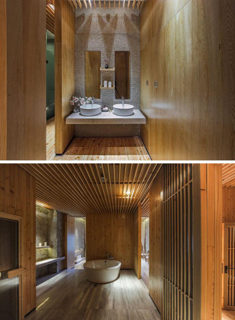Интерьер спа салона: двойные изящные раковины и ванна