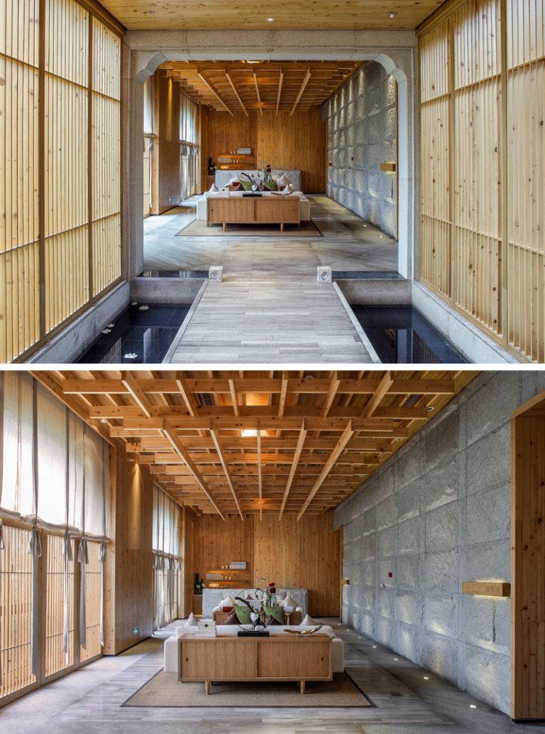 Интерьер спа салона: деревянная мебель