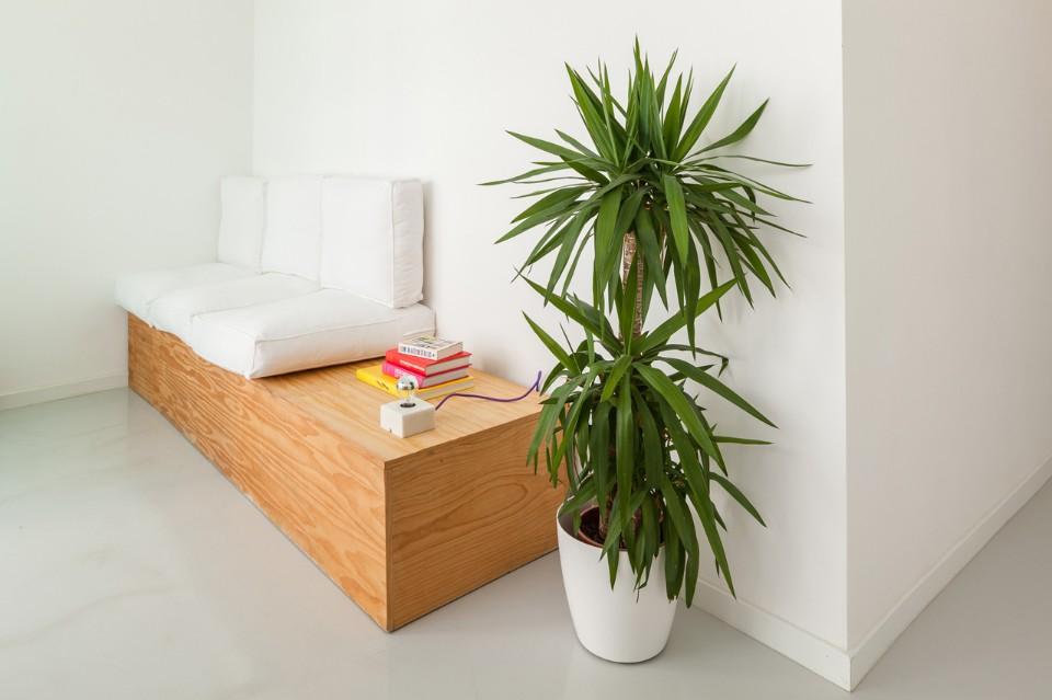 Белый диван с деревянным каркасом в интерьере стоматологической клиники