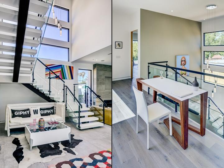 Интерьер временного офиса: подъём на второй этаж