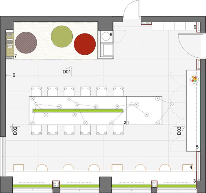 План расположения мебели в офисе
