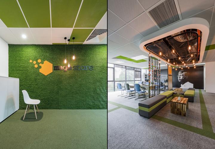 Комфортный офис в зеленых тонах в Ханое: зелёные цвета