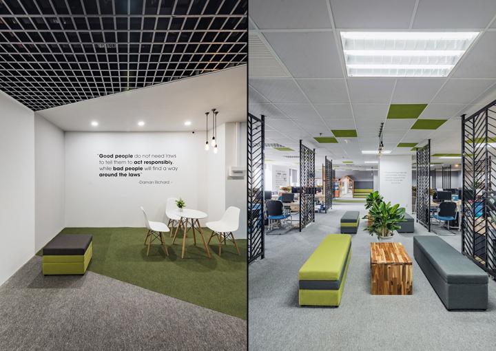 Комфортный офис в зеленых тонах в Ханое: зелёные тона