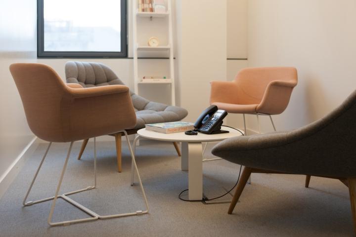 Креативное оформление офиса: мягкая мебель в расслабляющей комнате