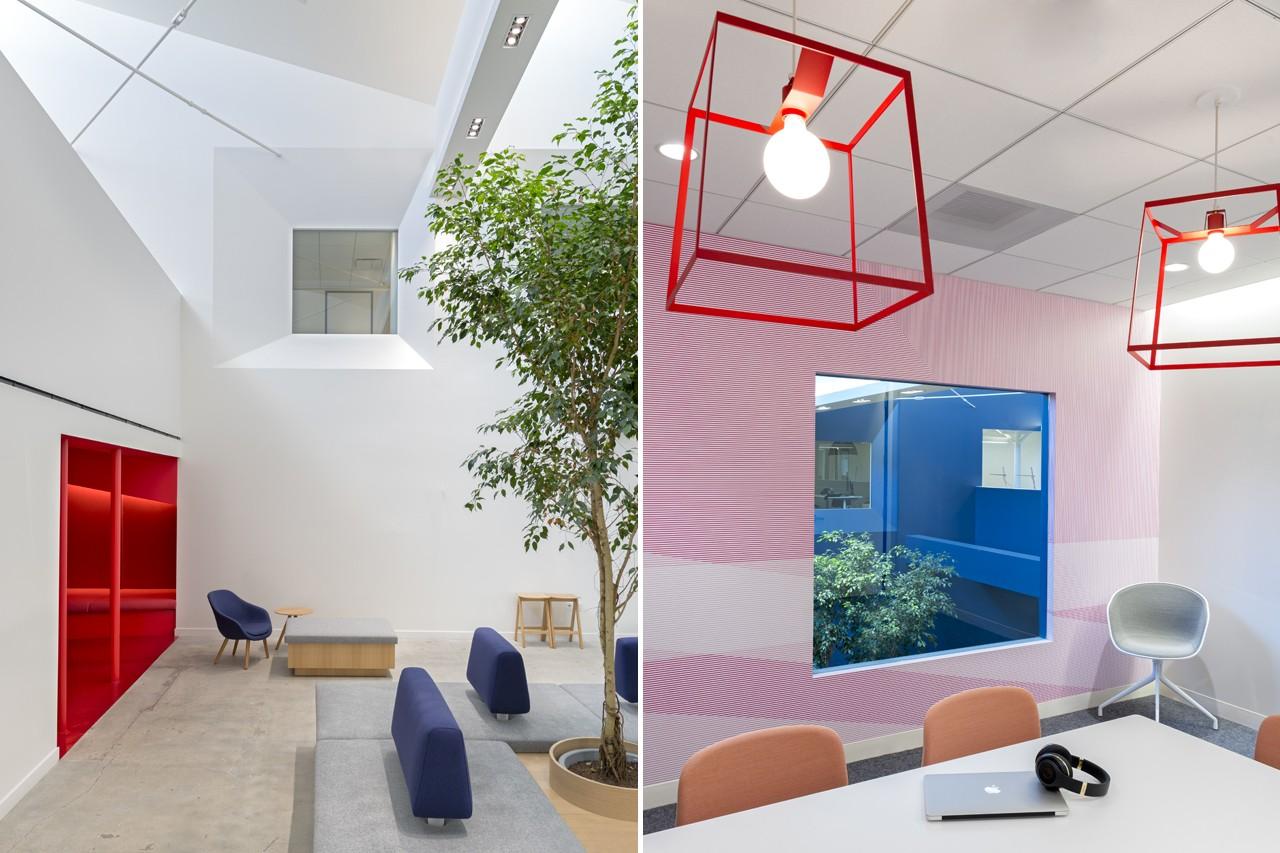 Креативное оформление офиса - красные элементы в интерьере