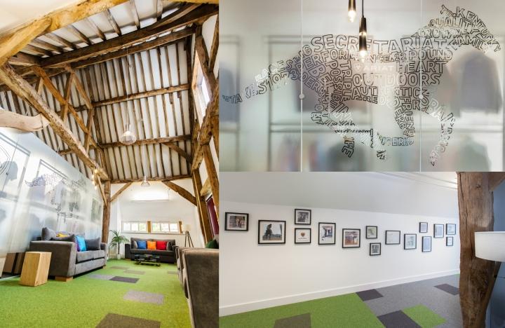 Креативное оформление офиса Ariat - декор помещений фотографиями и деревом