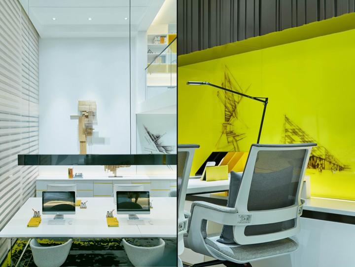 Ярко-жёлтые стены в креативном оформлении офиса