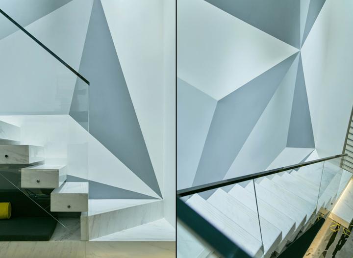 Геометрические стены в креативном оформлении офиса