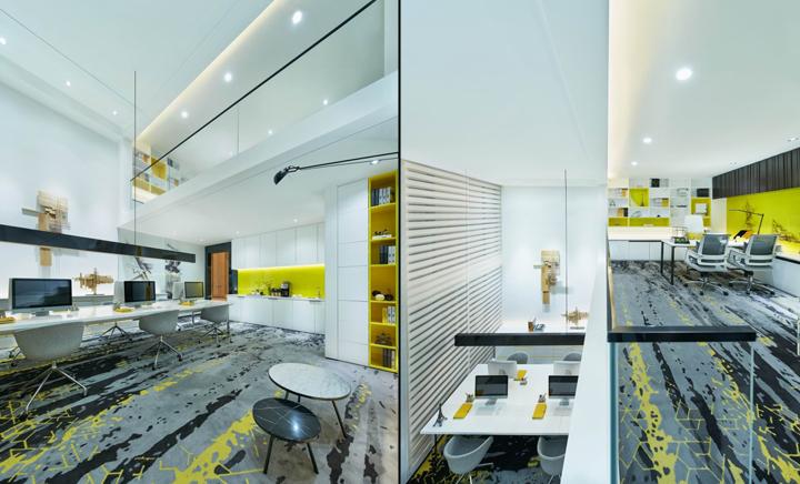 Белая мебель в креативном оформлении офиса
