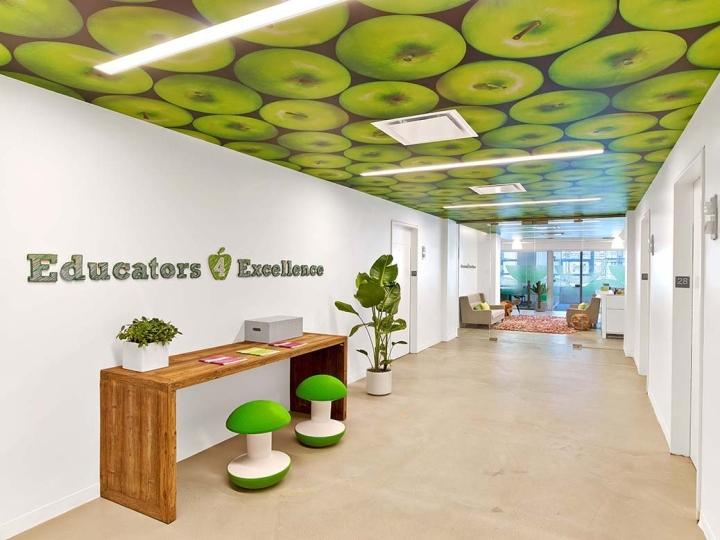 Оригинальный дизайн потолка с яблоками в интерьере офиса