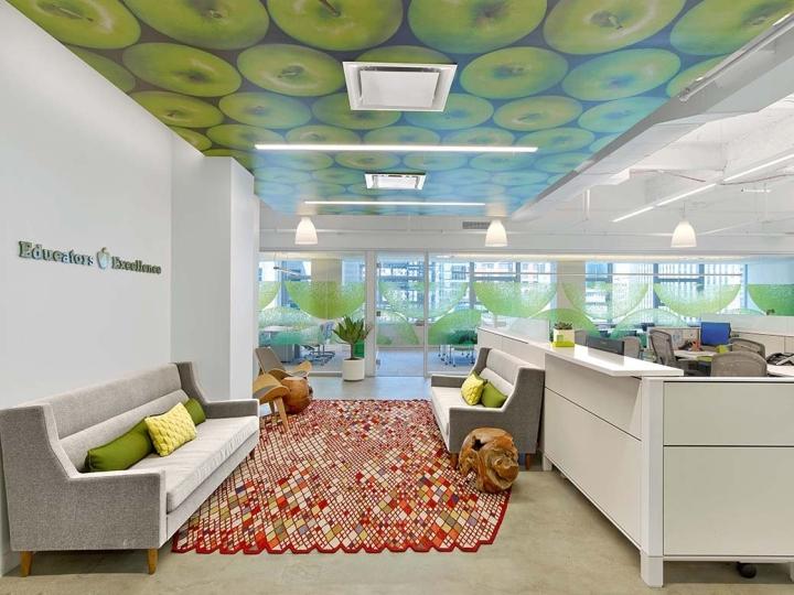 Оригинальный яркий ковёр в интерьере офиса