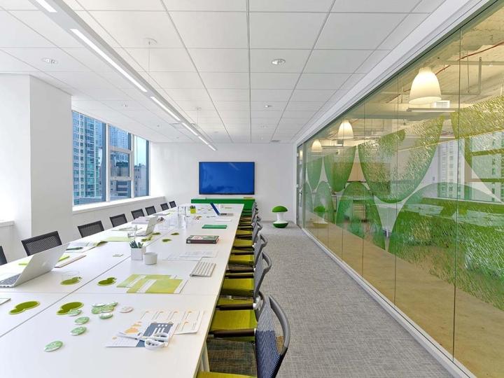 Белый глянцевый стол в интерьере офиса