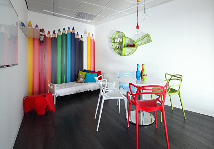 Оригинальные яркие стулья в креативном дизайне офиса
