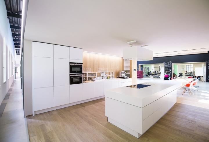 Дизайн белого гарнитура в интерьере кухни в офисе