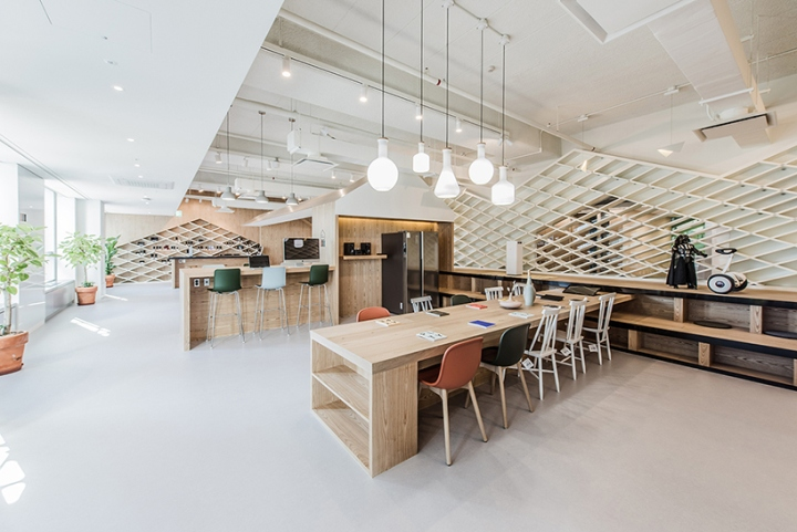 Светлые деревянные столы в интерьере шоурума