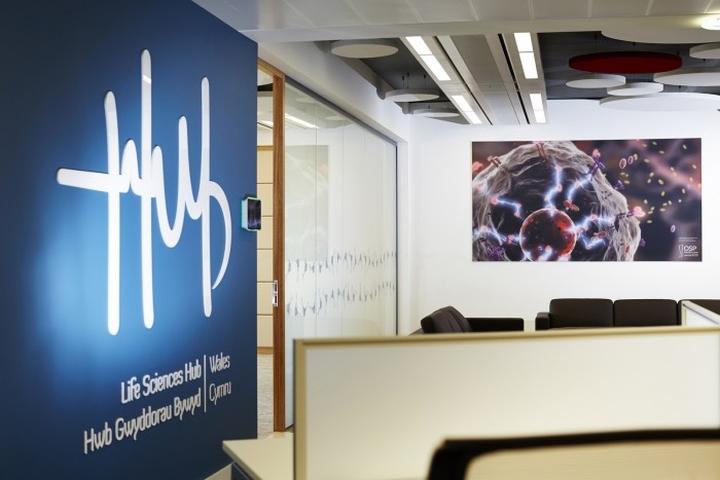 Интересные картины на стенах штаб-квартиры Welsh Government's new Life Sciences Hub