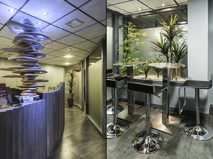 Необычный интерьер офиса в индустриальном стиле в Испании: растения и необычные скульптуры