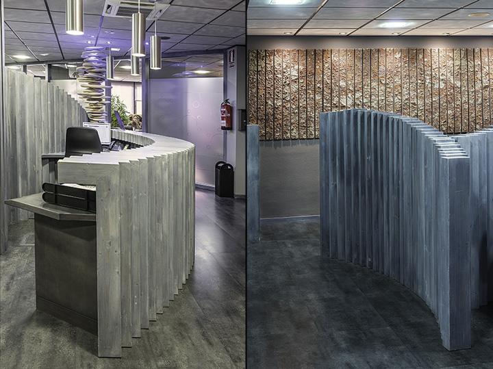 Необычный интерьер офиса в индустриальном стиле в Испании: геометрические скульптуры из дерева