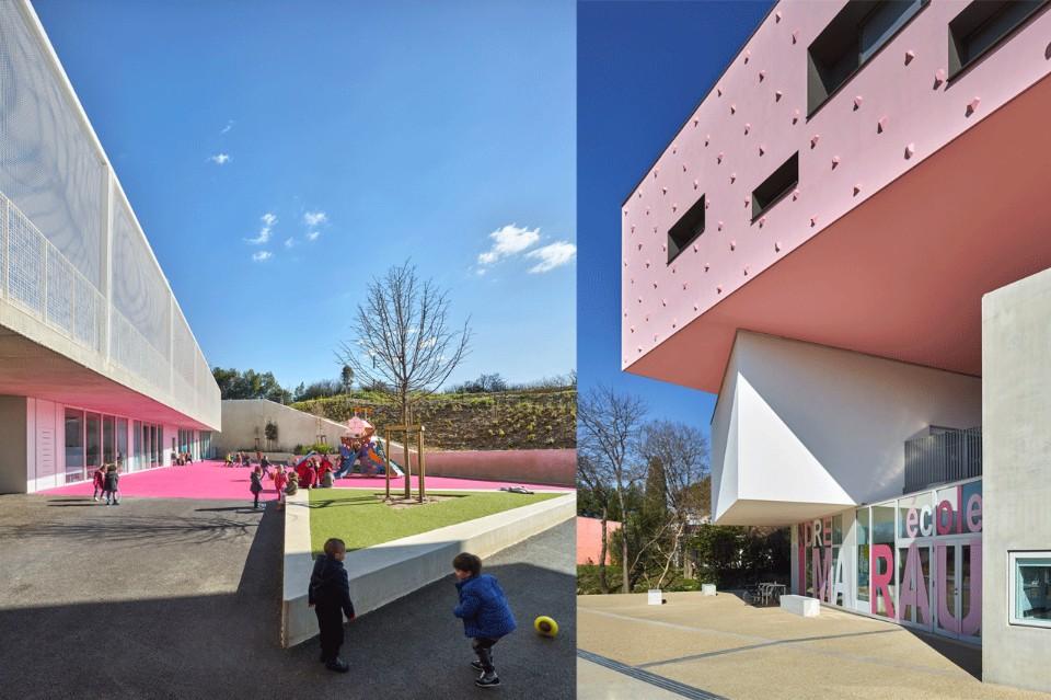 Ярко-розовая площадка в необычном интерьере школы
