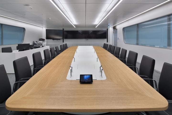 Большое стол из светлого дерева в интерьере конференц-зала офиса