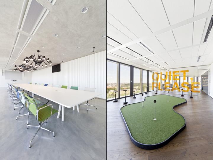Интересный интерьер и декор офиса: слева – конференц-зал, справа – гольф-клуб