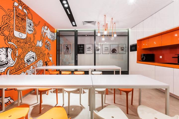 Столовая для сотрудников в белых и оранжевых цветах