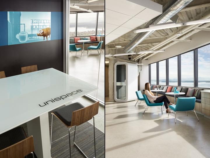 Офис в небоскрёбе в США - лаунж-зона и переговорные комнаты