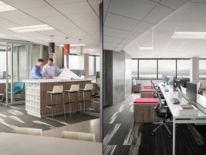 Офис в небоскрёбе в США - зоны для коллективной и индивидуальной работы