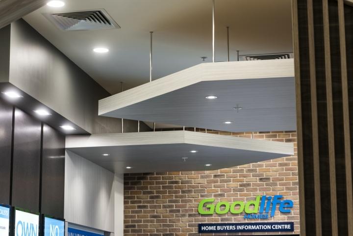 Оформление интерьера офиса. Визуальное уменьшение высоты помещения своеобразным дизайном потолка
