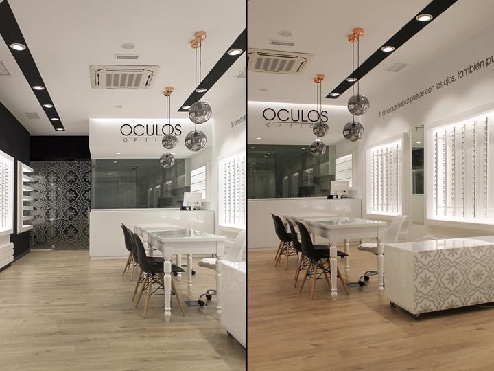 Оформление салона оптики в Виго - чёрно-белый интерьер магазина. Фото 2