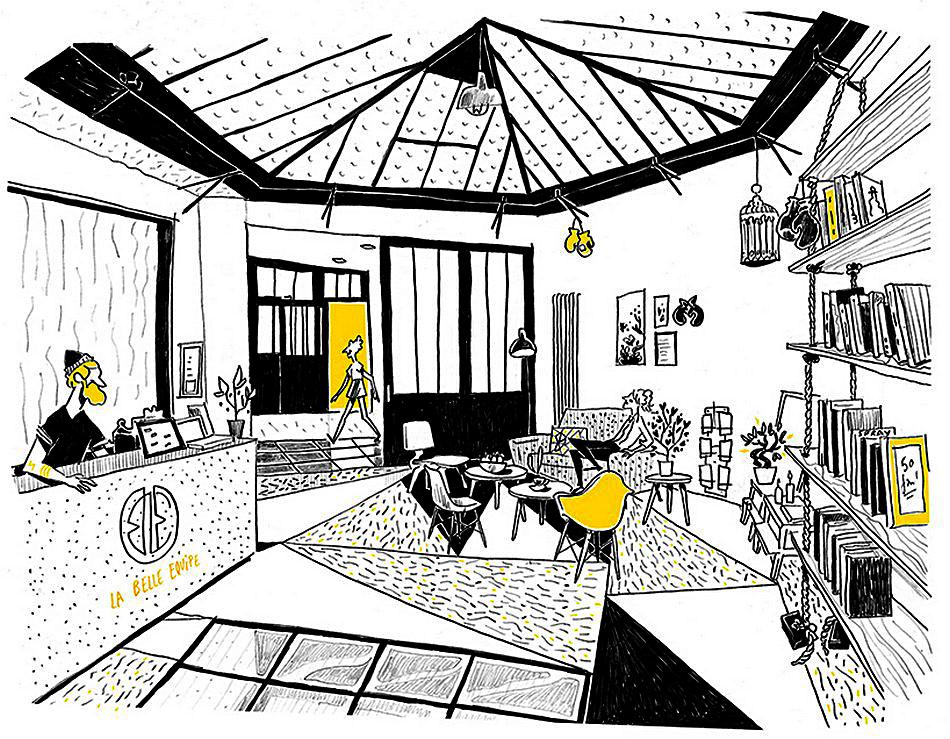 Рисунок-схема ресторана тайского бокс-зала La Belle Equipe в Париже