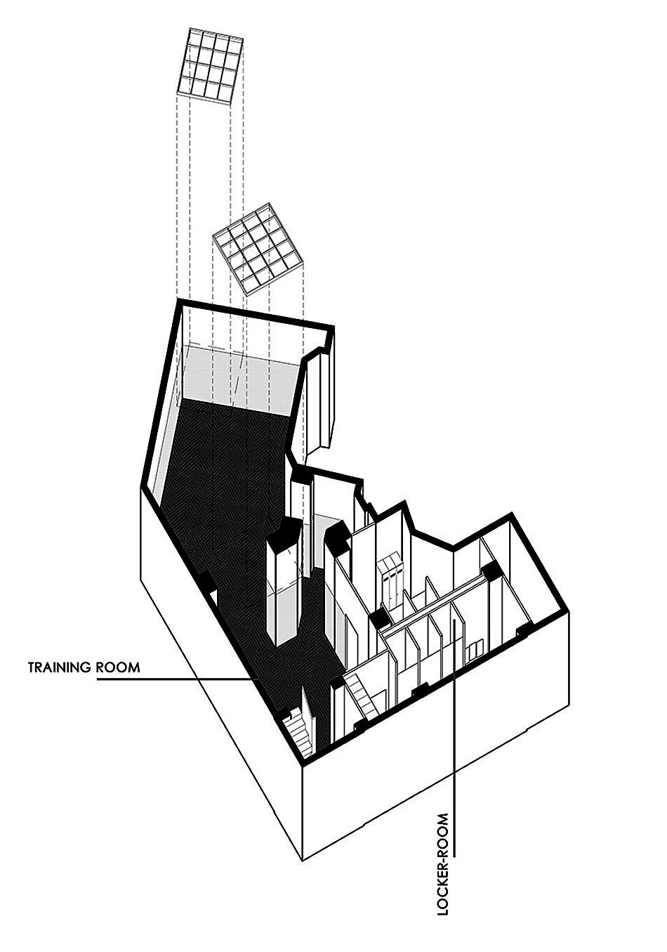 Трехмерная схема тайского бокс-зала La Belle Equipe в Париже