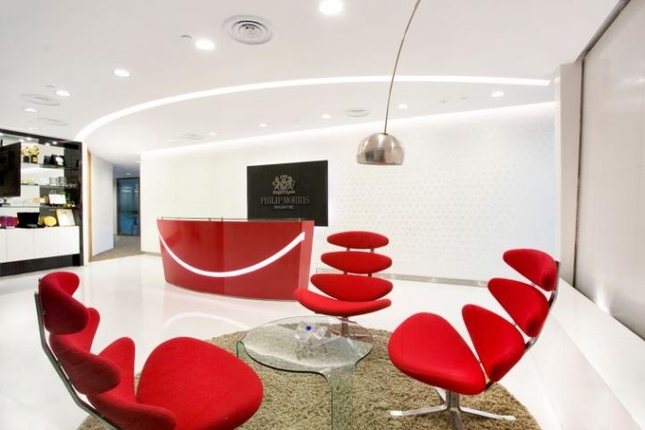 Красные кресла в офисе