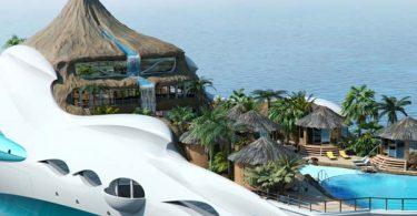 Проект яхты - острова Tropical Island Paradise от бюро Yacht Island Design Ltd